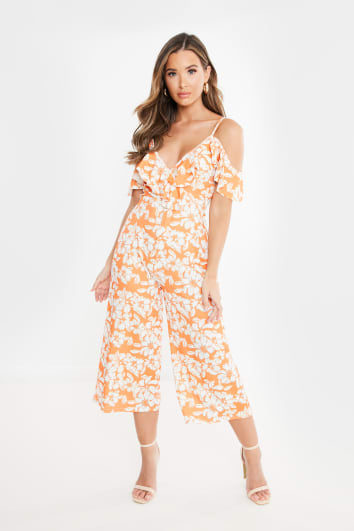 orange floral cold shoulder frill jumpsuit