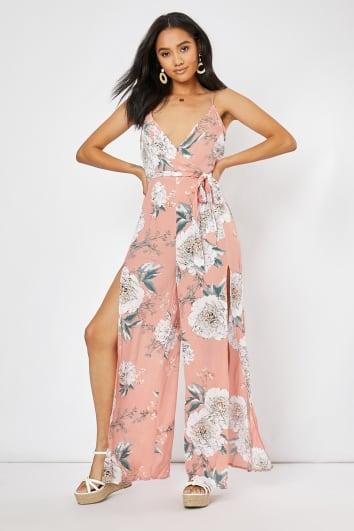 pink floral side split wrap front jumpsuit