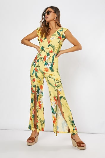 yellow tropical print tie back frill jumpsuit