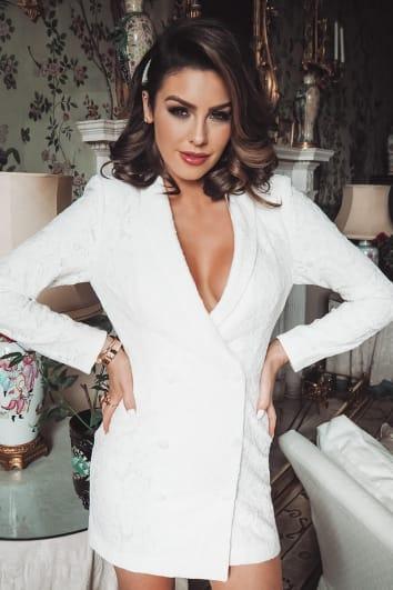 white lace open back tuxedo dress