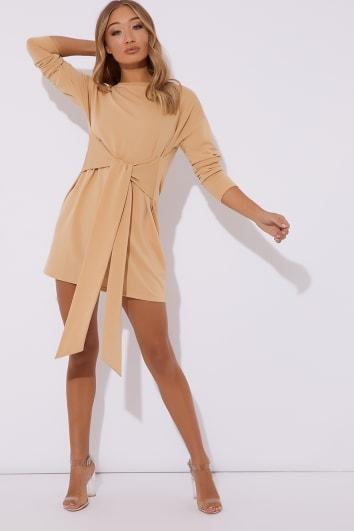 camel tie waist sweater mini dress