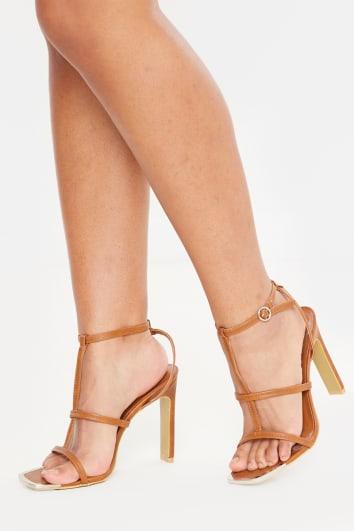 tan deep triple strap pu heels