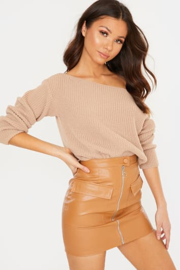 CAMEL OFF SHOULDER JUMPER