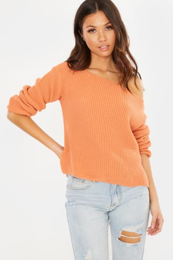 APRICOT ORANGE OFF SHOULDER JUMPER