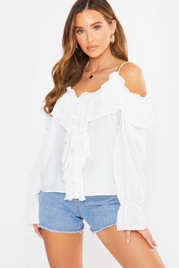 white frill detail blouse