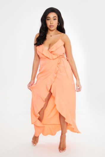 CURVE DANI DYER ORANGE WRAP MAXI DRESS