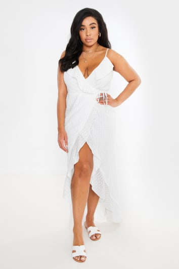 CURVE DANI DYER WHITE WRAP BRODERIE ANGLAISE MAXI DRESS