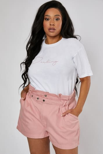 CURVE LUCINA PINK CROSS BELT LOOP DETAIL DENIM CO-ORD SHORTS