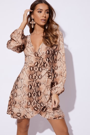 BILLIE FAIERS NUDE SNAKE PRINT WRAP FRONT MINI DRESS