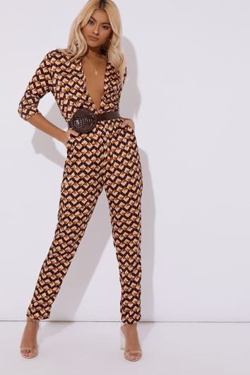 brown geometric print plunge jumpsuit
