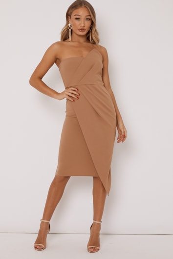 camel ruched front bandeau midi dress