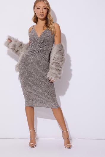 silver glitter plunge twist front midi dress