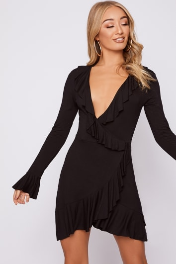 black jersey frill wrap dress