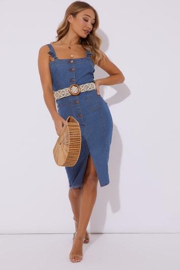 blue button through denim midi dress