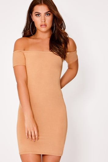 BASIC CAMEL JERSEY SHORT SLEEVE BARDOT MINI DRESS
