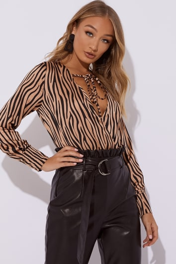 brown zebra satin wrap front tie detail bodysuit