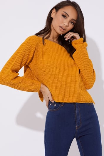 mustard slash neck cropped knitted jumper