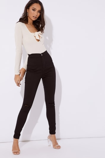 black denim super high waisted slash knee tube jeans