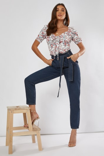 blue denim paperbag tie waist mom jeans