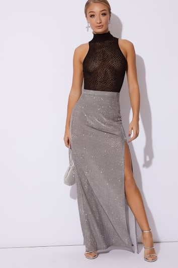 silver metallic thigh high maxi skirt