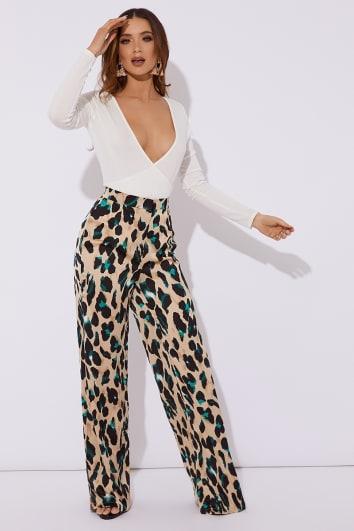 tan leopard satin wide leg trouser