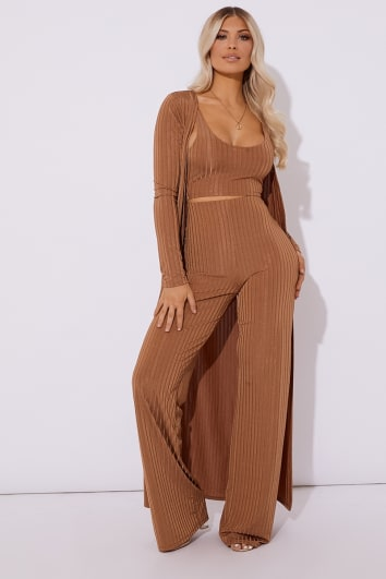 camel slinky ribbed co-ord duster