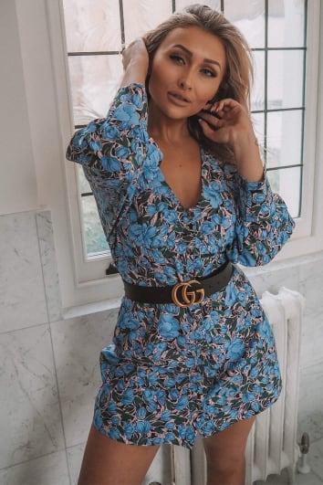 blue floral button down a line dress