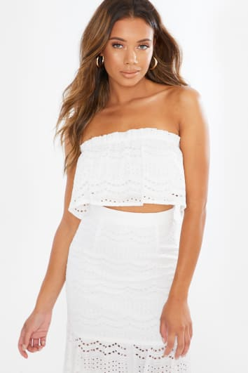 crochet lace frill crop top