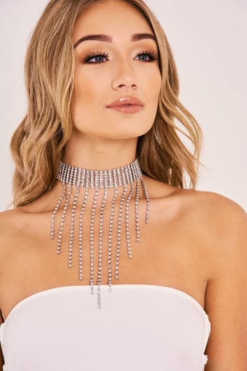 SILVER DIAMANTE DROP CHOKER