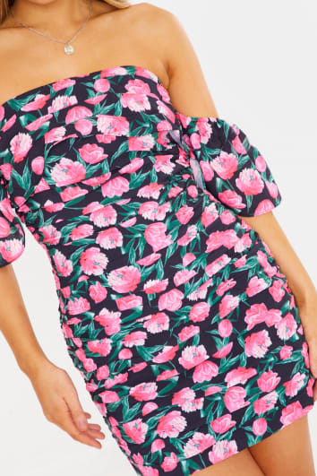 CHARLOTTE CROSBY PINK FLORAL BARDOT RUCHED MINI DRESS
