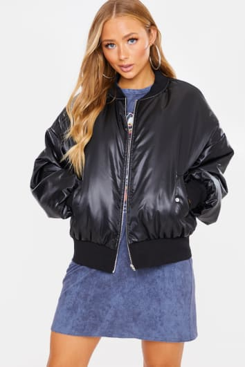 CHARLOTTE CROSBY BLACK OVERSIZED PADDED BOMBER JACKET