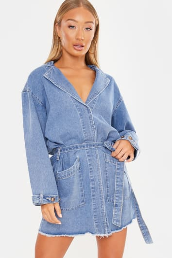 LAILA LOVES DENIM WRAP TRENCH STYLE MINI DRESS