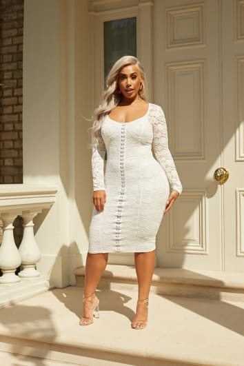 CURVE LAILA LOVES WHITE LACE CUPPED HOOK AND EYE MIDI DRESS