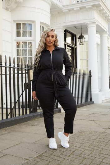 CURVE LAILA LOVES BLACK UTILITY ZIP FRONT SLIM LEG BOILERSUIT