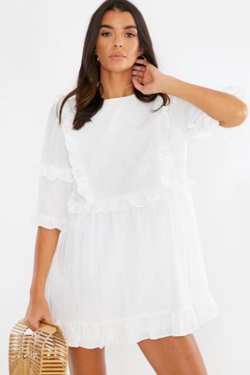 LORNA LUXE WHITE 'GIRL'S GIRL' RUFFLE MINI DRESS
