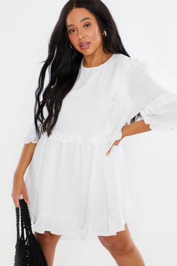 CURVE LORNA LUXE WHITE 'GIRL'S GIRL' RUFFLE MINI DRESS