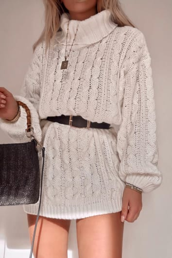 FASHION INFLUX WHITE ROLL NECK OVERSIZED JUMPER DRESS