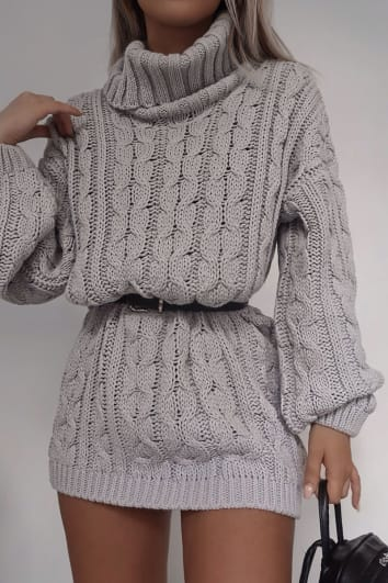 FASHION INFLUX GREY ROLL NECK OVERSIZED JUMPER DRESS
