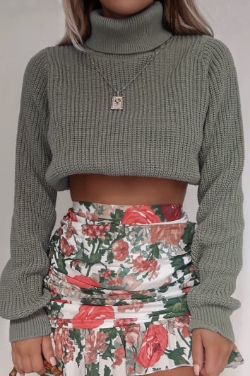 FASHION INFLUX MINT RIBBED ROLL NECK CROPPED JUMPER
