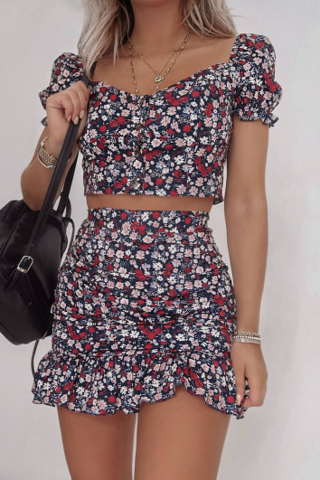 FASHION INFLUX NAVY FLORAL RUCHED FRILL MINI SKIRT