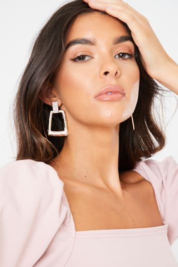 GOLD DOOR KNOCKER DIAMANTE EARRINGS