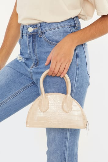 NUDE CROC WITH SILVER CHAIN BAG