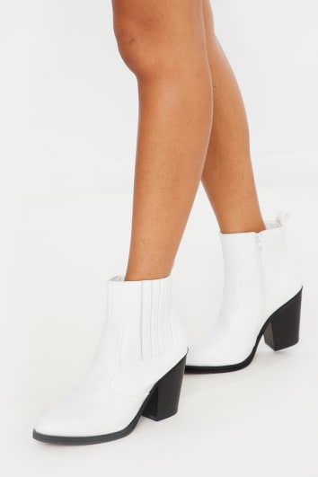 white pu ankle cowboy boots