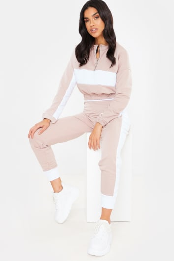NUDE CROPPED HALF ZIP DETAIL SWEATER AND JOGGERS LOUNGEWEAR SET