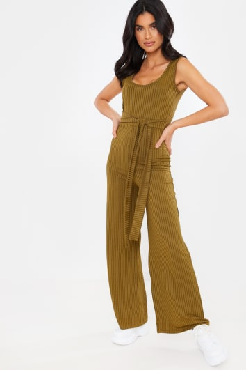 KHAKI RIBBED TIE FRONT LOUNGEWEAR JUMPSUIT