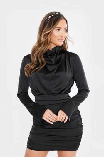 black satin ruched long sleeve mini dress
