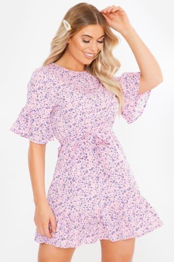 pink floral poplin frill detail mini dress