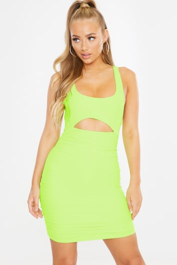 lime ruched cross back mini dress
