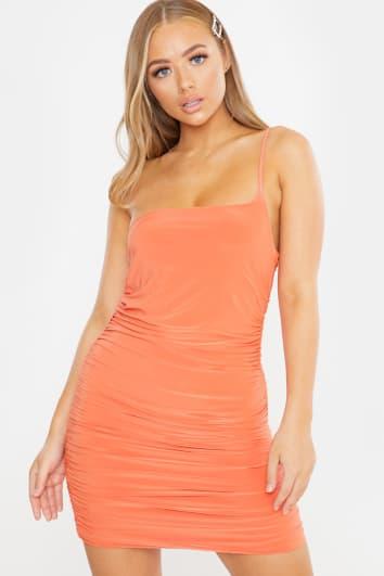 orange slinky ruched one shoulder mini dress
