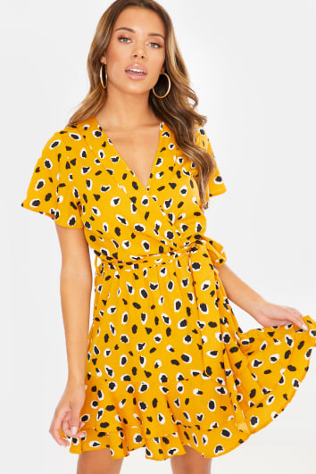 MUSTARD LEOPARD WRAP MINI DRESS